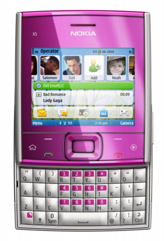 Nokia X5 01 Pink Nokia X5 01   Symbian S60 3rd Edition with Full QWERTY