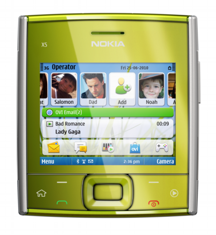 Nokia X5 green Nokia X5 01   Symbian S60 3rd Edition with Full QWERTY