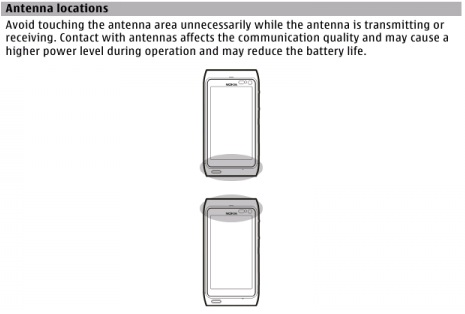 Nokia N8 Antenna location