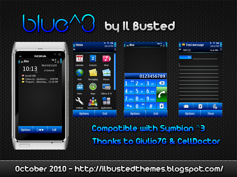 Blue^3 Symbian^3 Themes for Nokia N8 Nokia C7 Nokia C6 01 and Nokia E7