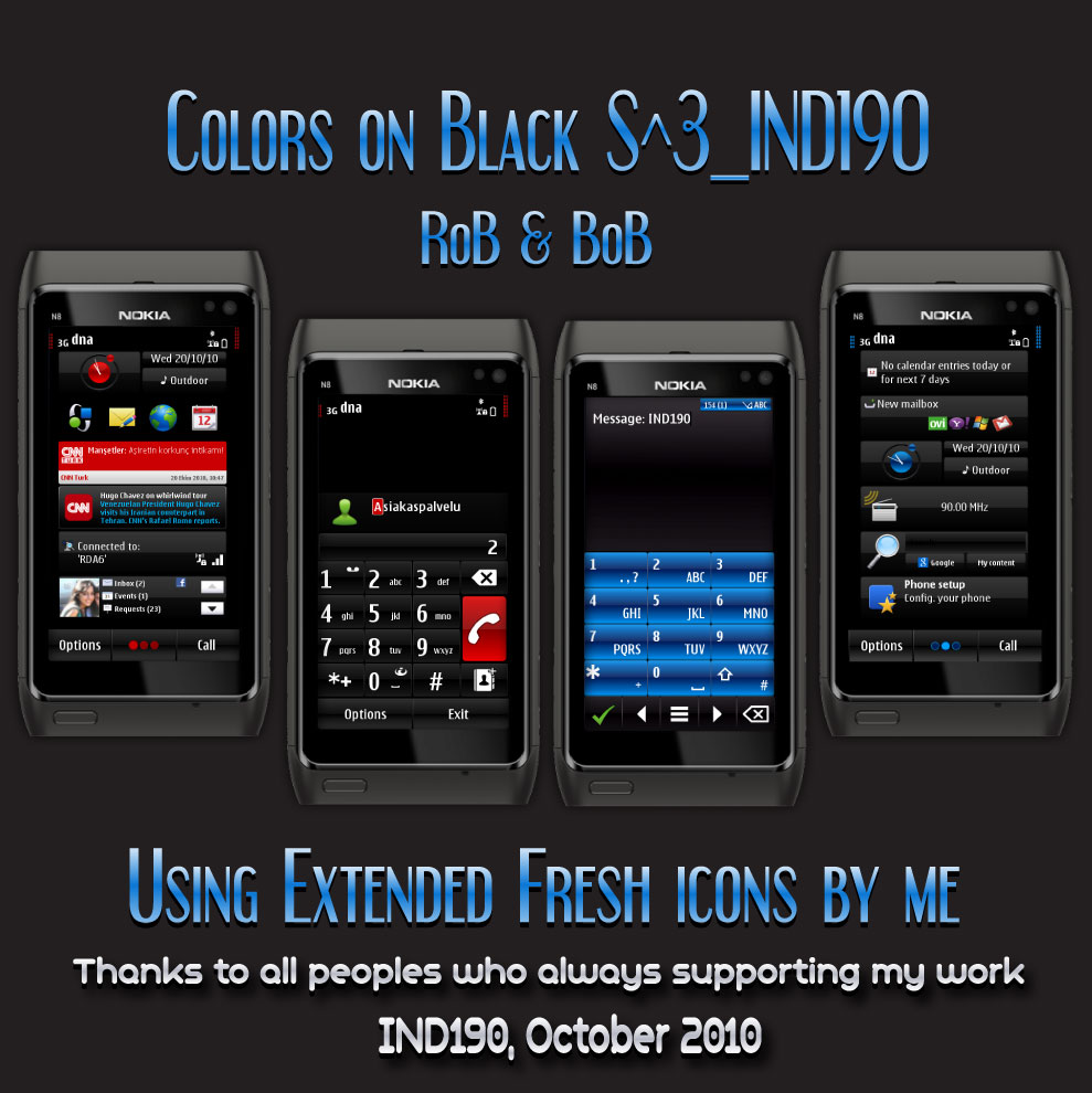 Color on Black Symbian^3 Themes for Nokia N8 Nokia C7 Nokia C6 01 and Nokia E7