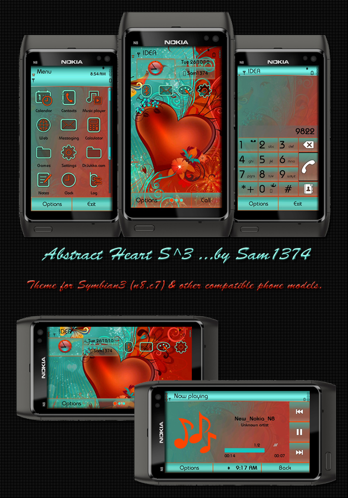Heart Symbian^3 Themes for Nokia N8 Nokia C7 Nokia C6 01 and Nokia E7