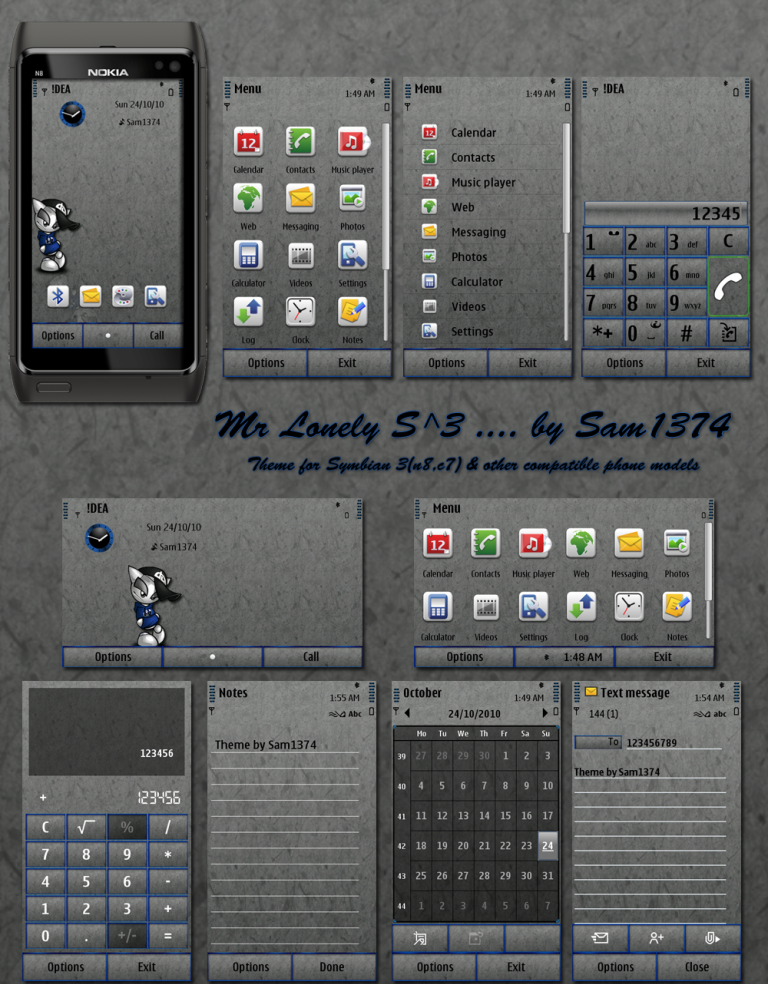 Mr Lonely S^3 Symbian^3 Themes for Nokia N8 Nokia C7 Nokia C6 01 and Nokia E7