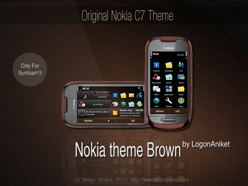 Nokia theme Brown Symbian^3 Themes for Nokia N8 Nokia C7 Nokia C6 01 and Nokia E7