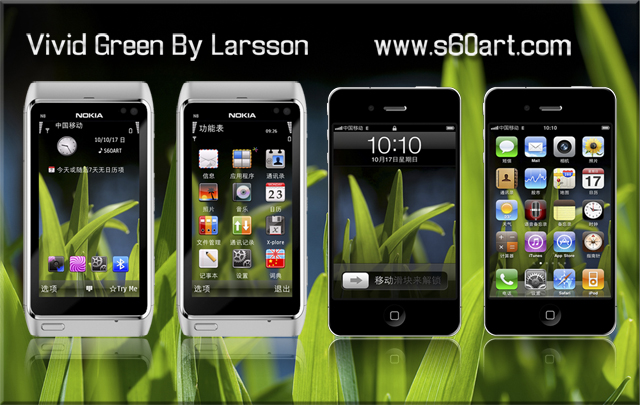 Vivid Green Symbian^3 Themes for Nokia N8 Nokia C7 Nokia C6 01 and Nokia E7