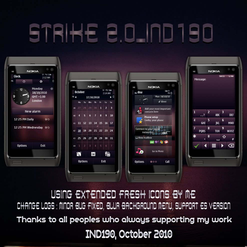 strike 2.0 Symbian^3 Themes for Nokia N8 Nokia C7 Nokia C6 01 and Nokia E7